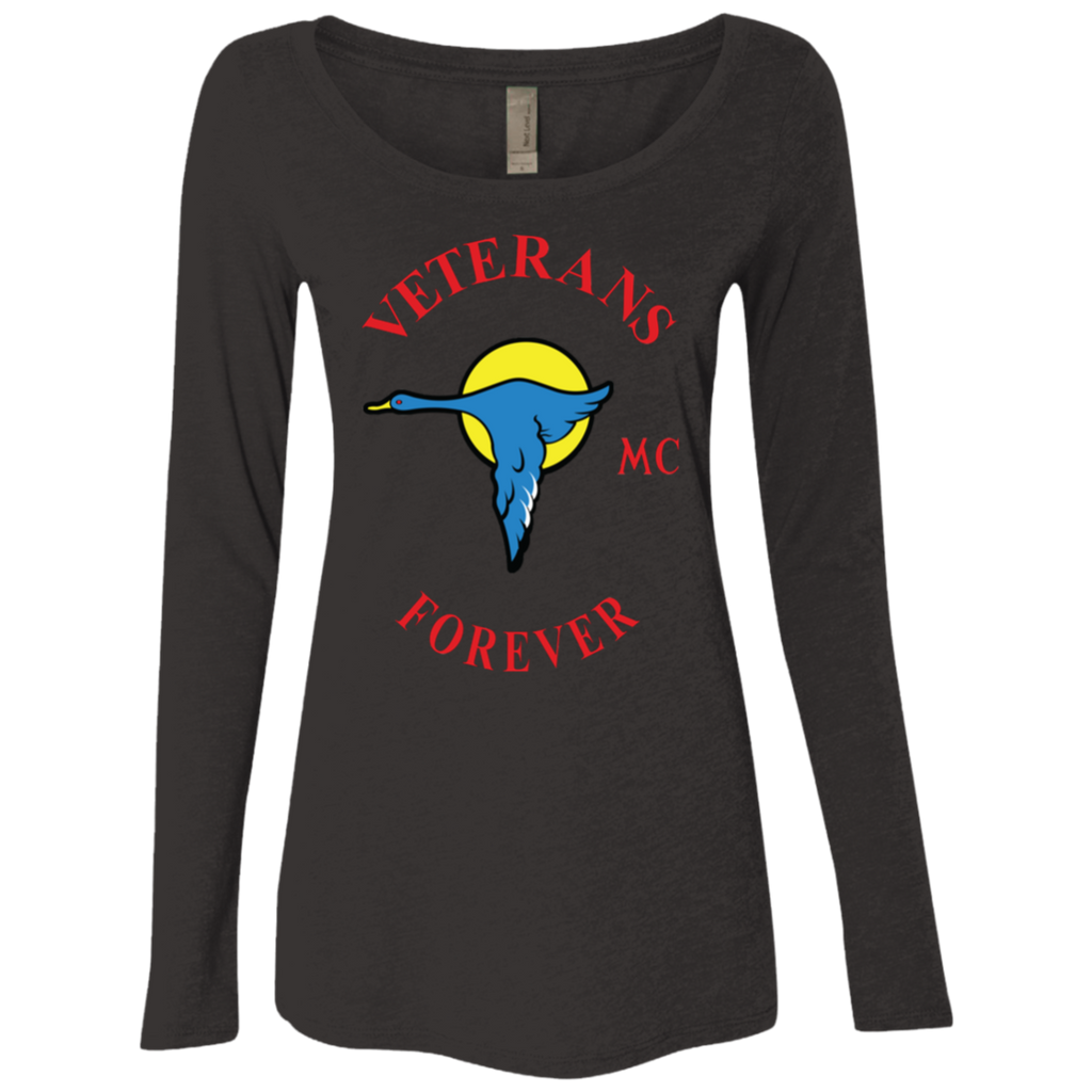 Veterans Forever goose logo with black 4500x5400 NL6731 Ladies' Triblend LS Scoop