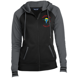 Veterans Forever goose logo with black 4500x5400 LST236 Ladies' Moisture Wick Full-Zip Hooded Jacket