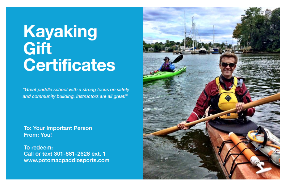 Kayaking Gift Card Certificate