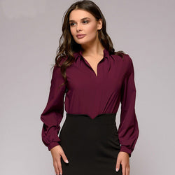 Spring and autumn collar pleated shirt women's elegant solid color long sleeve shirt women's casual shirt Retro