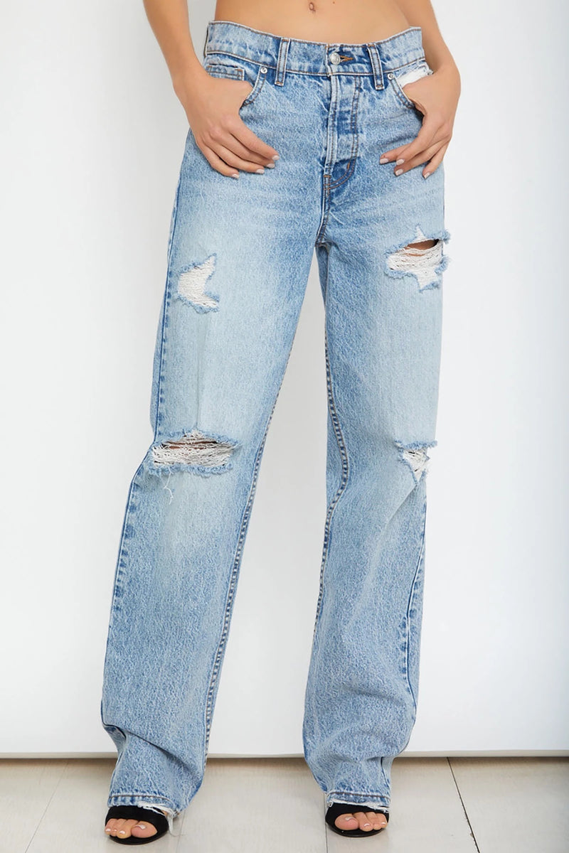 Retro Loose Straight Barrel Mid-high Waist Ripped Jeans Trousers