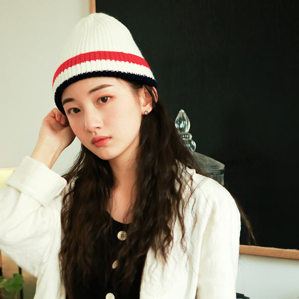 Sweet And Lovely School Stripe Knitting Wool Hat