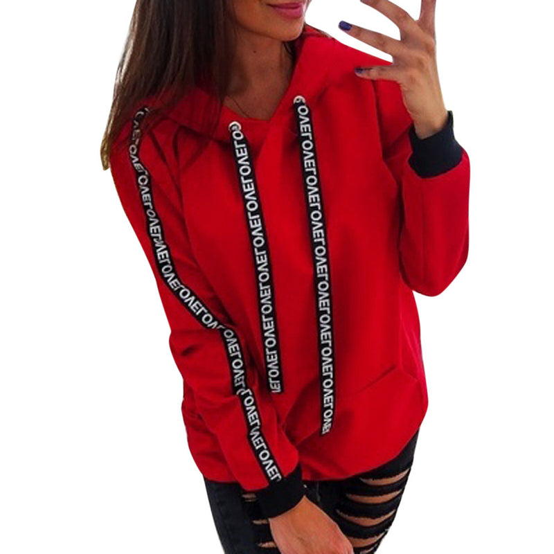 Women Autumn Long Sleeve Solid Hooded Pullover Tops Blouse Letter Print Hoodies Women Plus