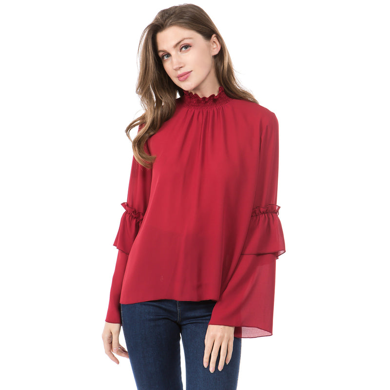 Fashion Stitching Flounced Long Sleeve Semi-high Collar Blouse