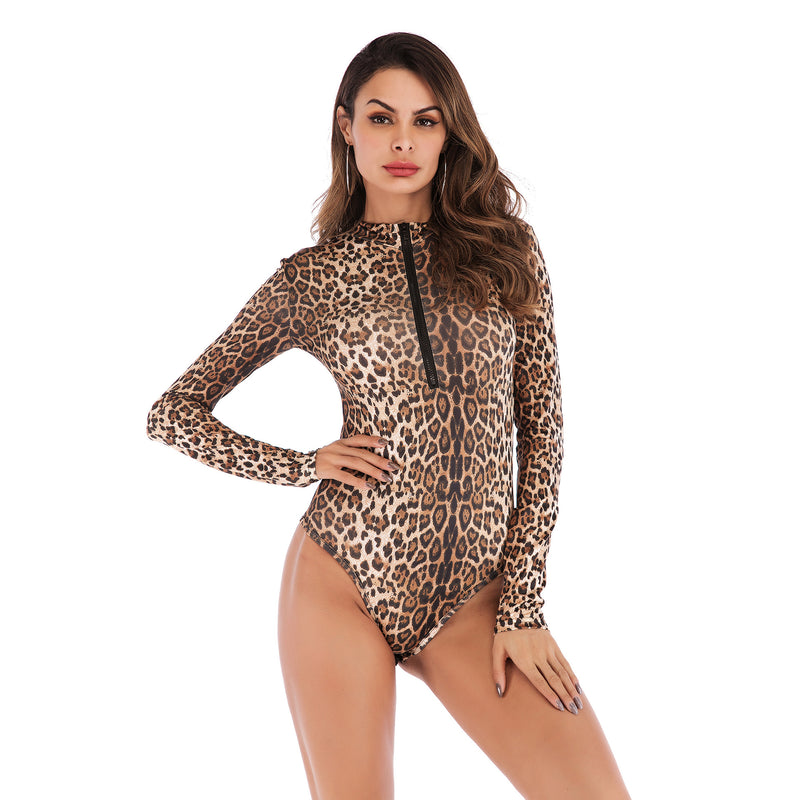 Long Sleeve T-shirt Female Zipper Sexy Leopard Slim Fit Jumpsuit