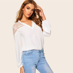 New Arrival Women V Collared Shirt Loose Sweet Lace Top