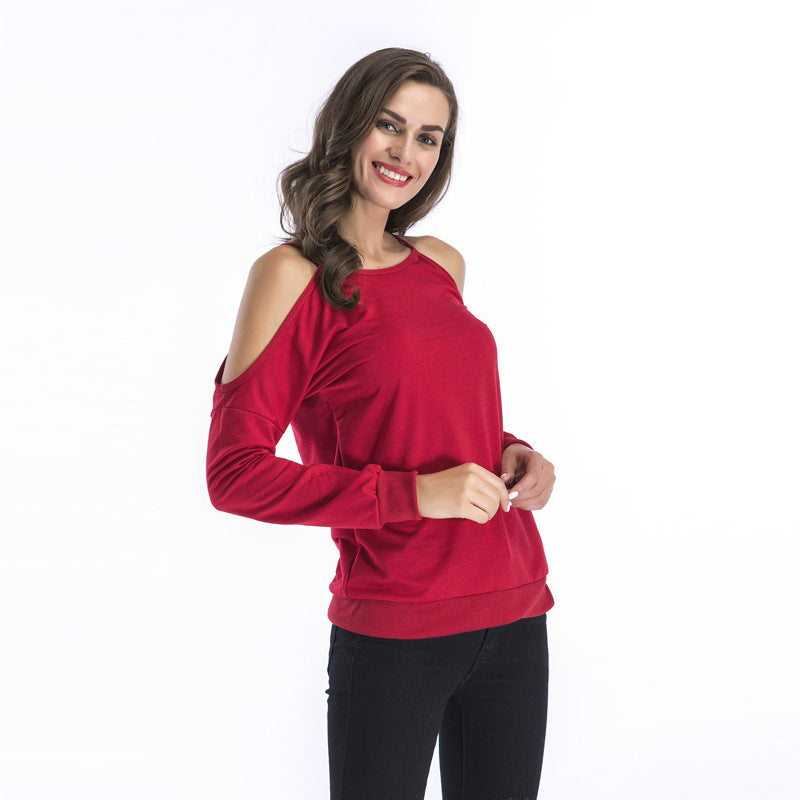 Long-sleeved Off Shoulder Bottomed Shirt Loose-fitting Sweatshirt