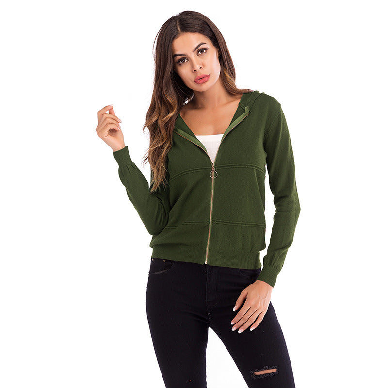 Solid Color Hooded Zipper Knitted Cardigan Long Sleeved Jacket
