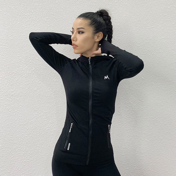 Ladies exercise quick-drying fitness long sleeve fashion fitness yoga zipper long sleeve hoodie