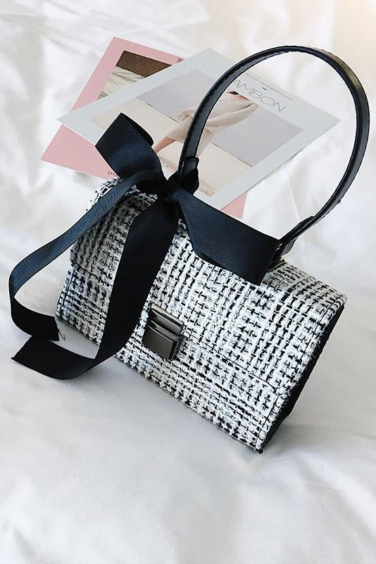 Shopy7 Fashionable Woolen Handbag New Arrival Bow Lock Single Shoulder Diagonal Straddle Bag