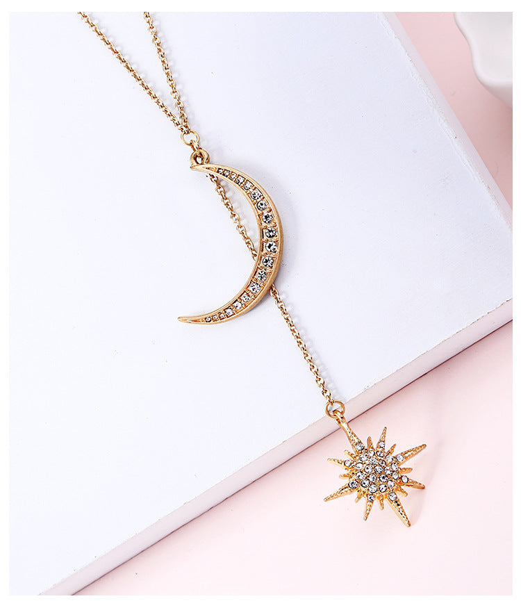 New Arrival Fashion Star Moon-encrusted Diamond Pendant Necklace