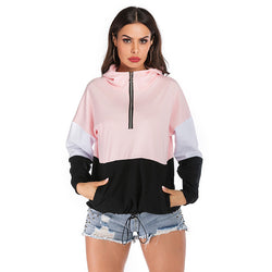Shopy7 New Fashion Autumn/Winter Contrast Panel Zip Hoodie