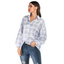 Best Selling Fall/Winter Fashion Loose Plaid Long Sleeve Shirt