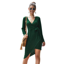 Shopy7 Autumn/Winter V-neck Long-sleeveknit Sexy Dress