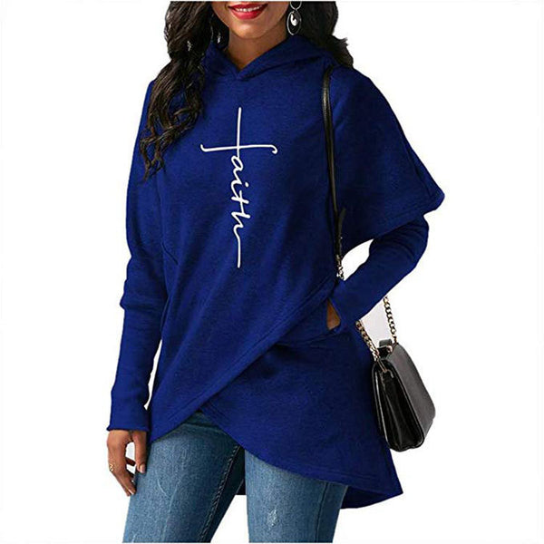 New Long-sleeved Embroidered Women's Top Irregularhood