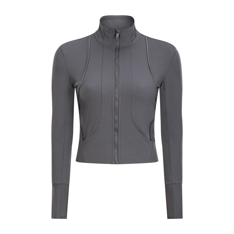 Autumn and winter new fashion long sleeve Yoga coat women's collar zipper cardigan running fitness jacket