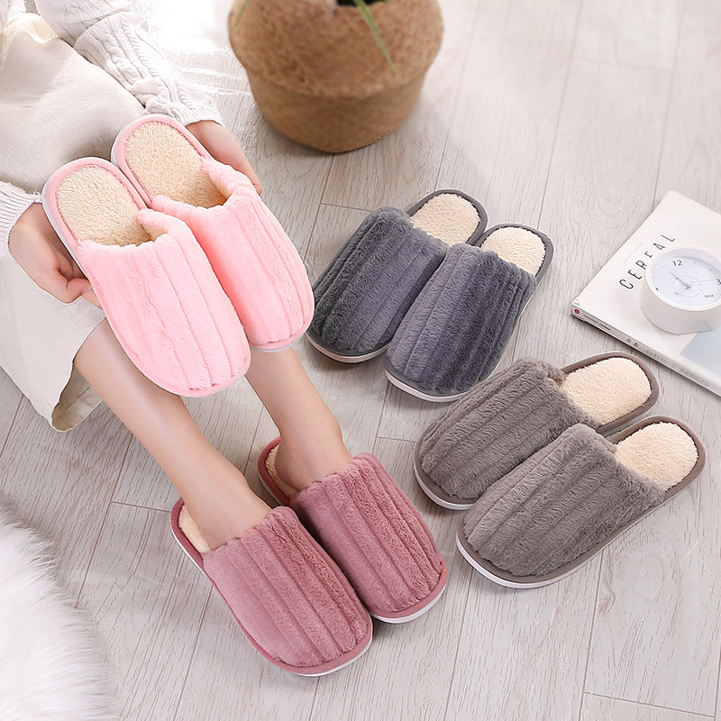 Pure Color Household Cotton Slippers Warm and Soft Bottom Slippers