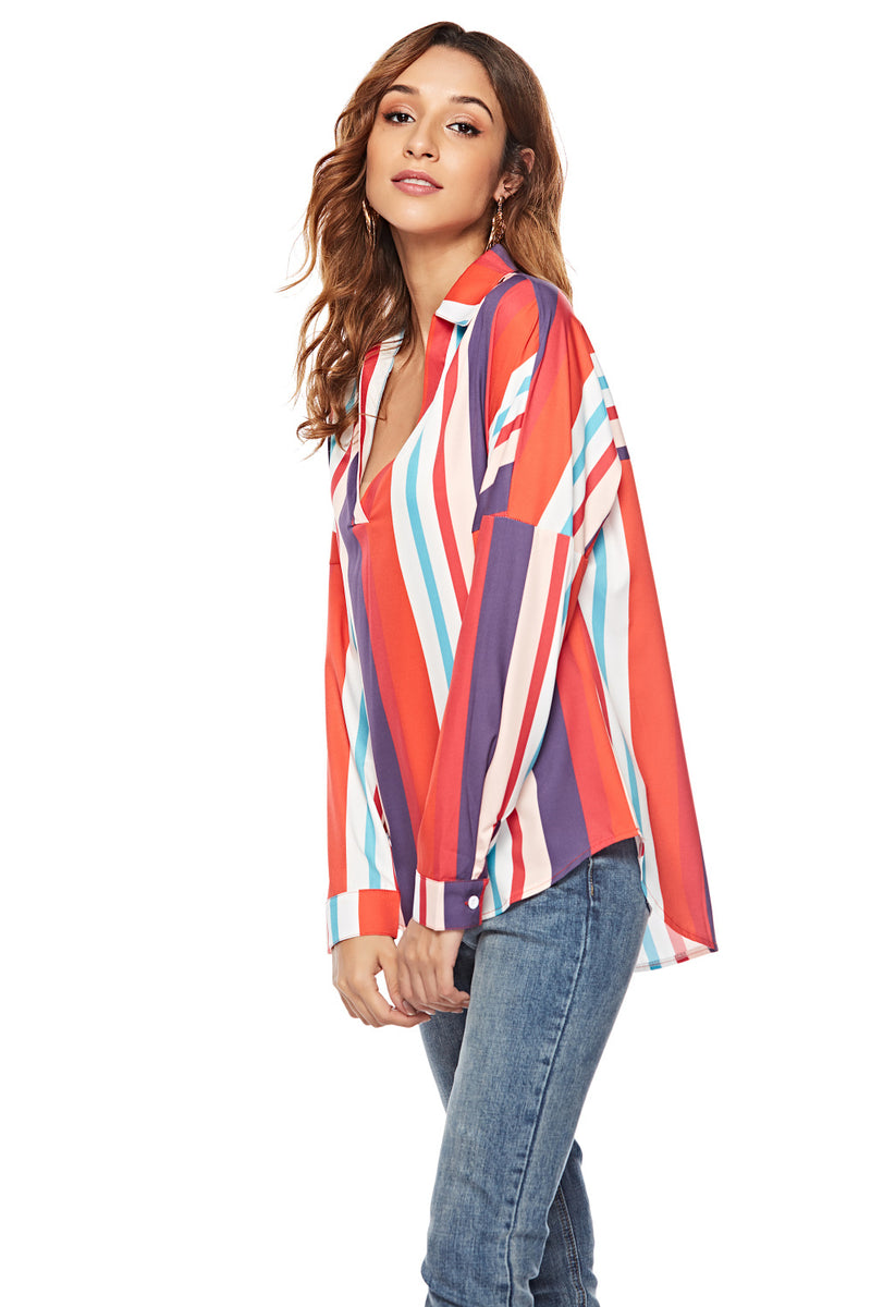 2019 New Striped Irregular Hem Long Sleeve V-neck Bottoming Shirt