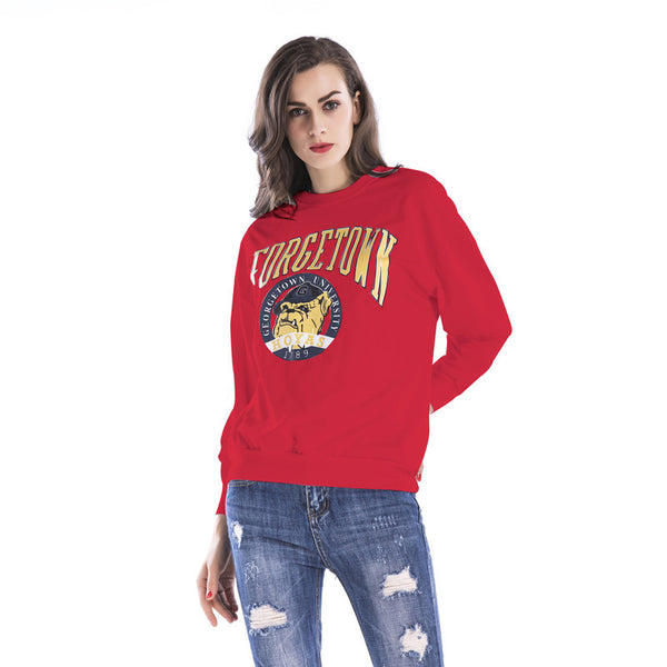 New Women's Cartoon Round Neck Pullover Printed Loose Large Long Sleeve Top