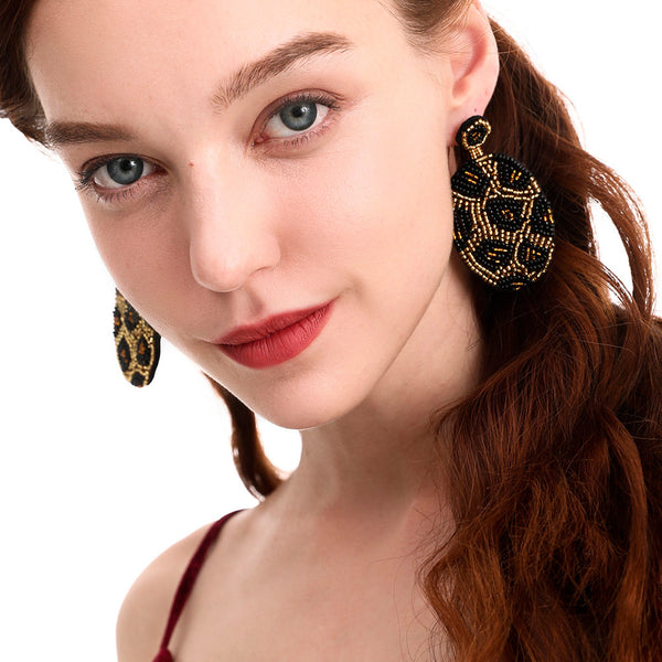 Shopy7 Pure Hand-made Bead Leopard Print High-grade Fine-quality Rice-bead Earrings