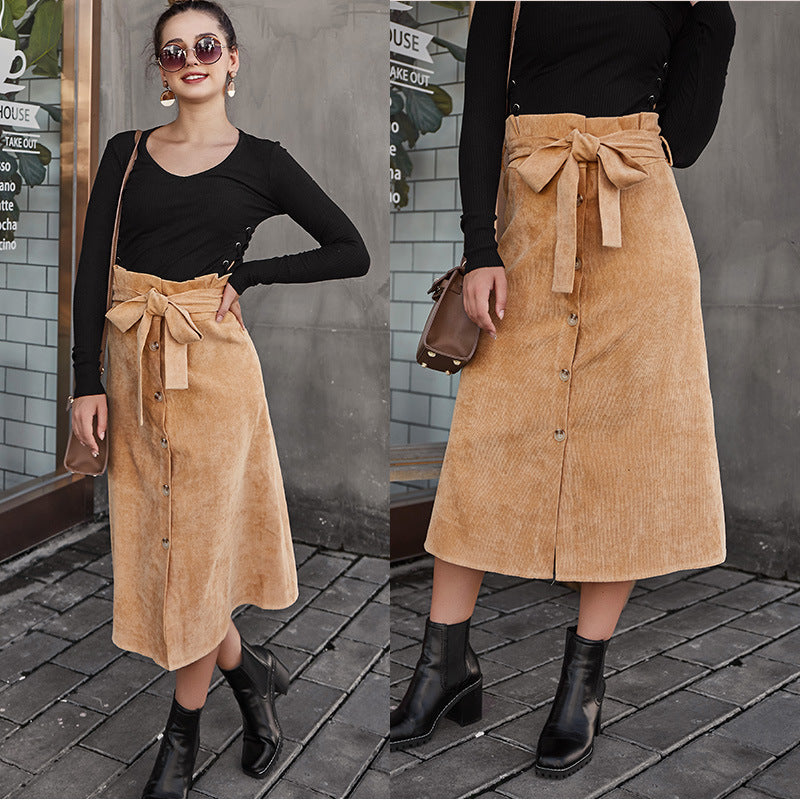 Antumn/Winter New Women's Skirt Corduroy Button Skirt