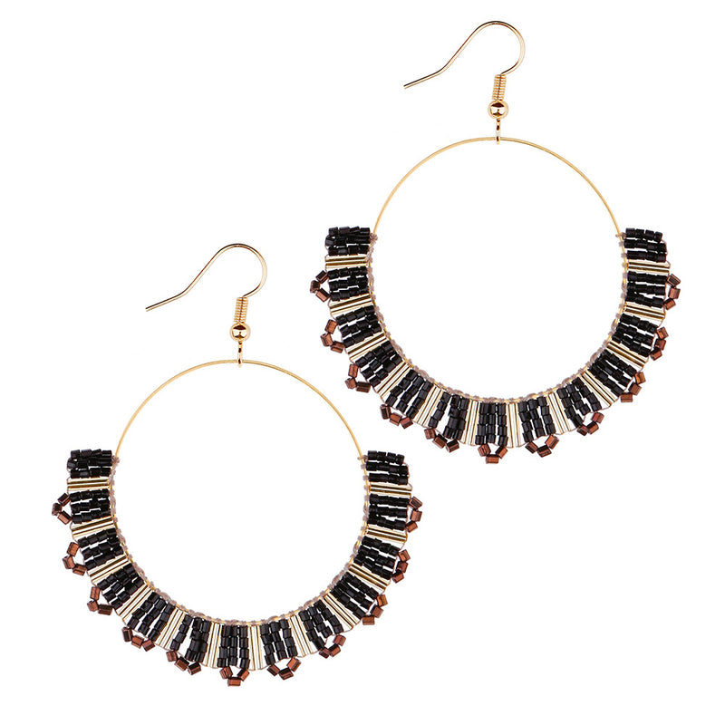 Shopy7 Pure Handmade Dazzling Crystal Tube String Beads Ears Decorated