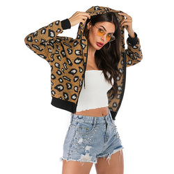Autumn/Winter Leopard Print Coat Hooded Top Fashion Coat