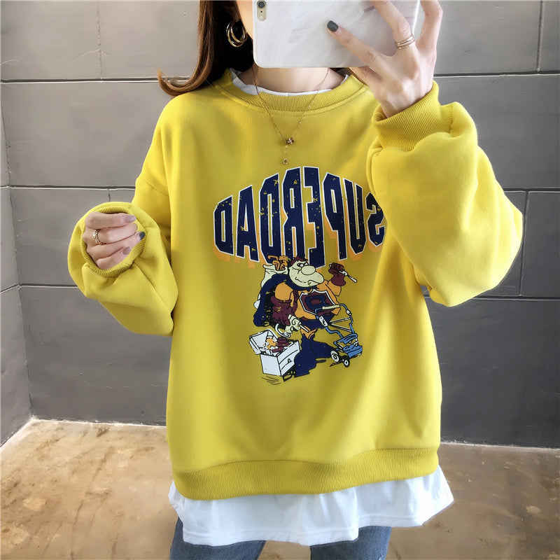 Elegant girls' fashionable and atmospheric print crew neck Sweatshirt