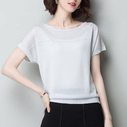 Large loose top summer new bat sleeve bright silk round neck half sleeve shirt knitted ice silk short sleeve T-shirt loose