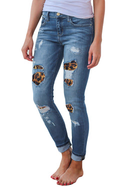 High Quality Slim Leopard Print Ripped Stretch Jeans