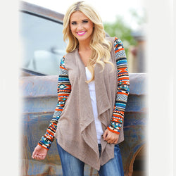 Printed long sleeve cardigan with irregular blouse 2019