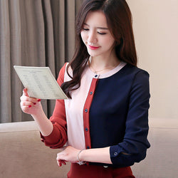 Korean fashion clothing 2019 chiffon blouse ladies tops tops womens clothing Button Stand women tops and blouse Full