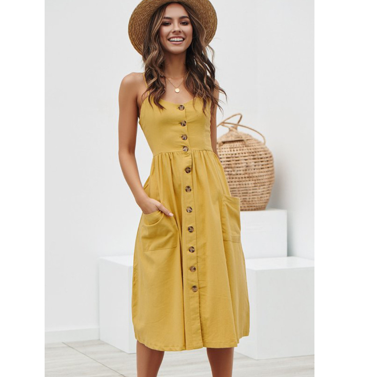 Button Striped Cotton Linen Patterned Casual Summer Dress 2019
