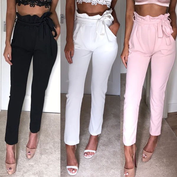 NEW Women High Waist Slim Skinny Leggings Stretchy Bow Belt Drawstring Pants Jeggings Pencil Trousers