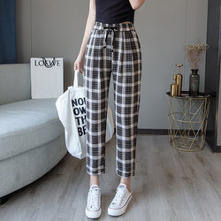 New Women Harem Pants Korean Fashion Casual Loose Large Size Was Thin Lattice Female Trousers  Ankle-Length Pants