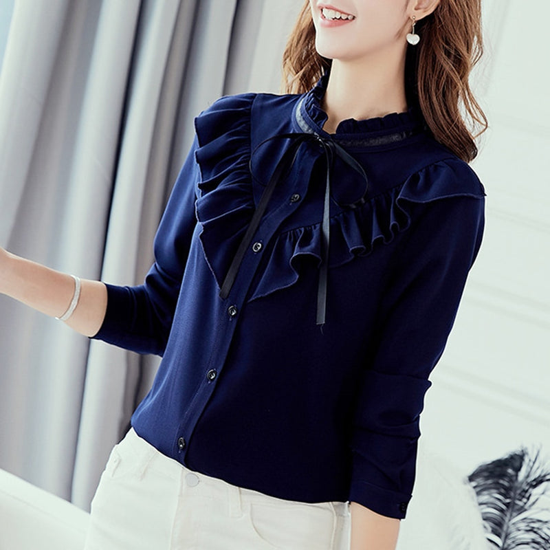 Spring and autumn leisure chiffon shirt fashion fit top lady