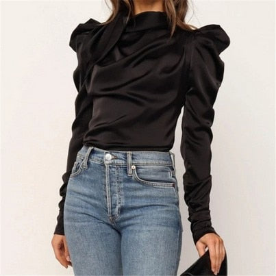 Fashion women's Satin shirt collar long sleeve elegant shirt Office