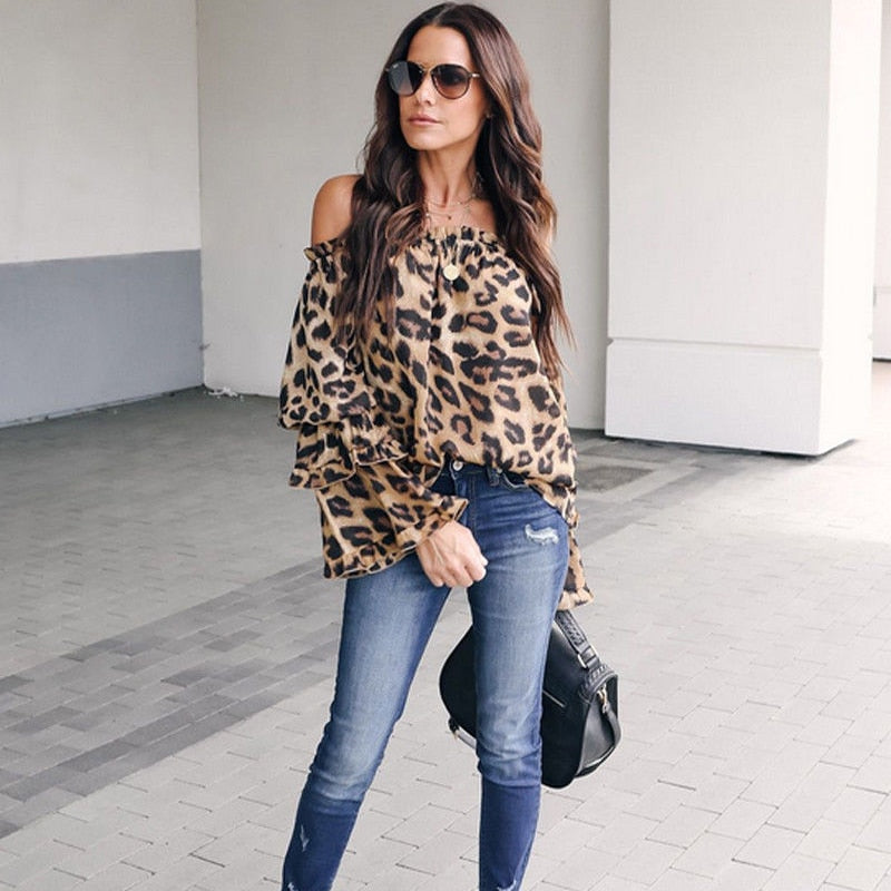 Women's leopard elegant top low chest off shoulder long sleeve shirt sexy