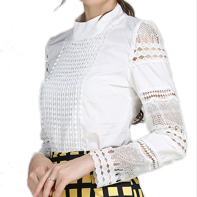 Lace Chiffon Blouse casual long sleeve blouse and shirt hook flower hollow