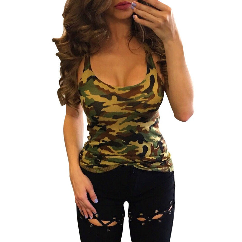 Fashion Women Casual Camouflage Sleeveless Summer Vest Tank Tops Shirt