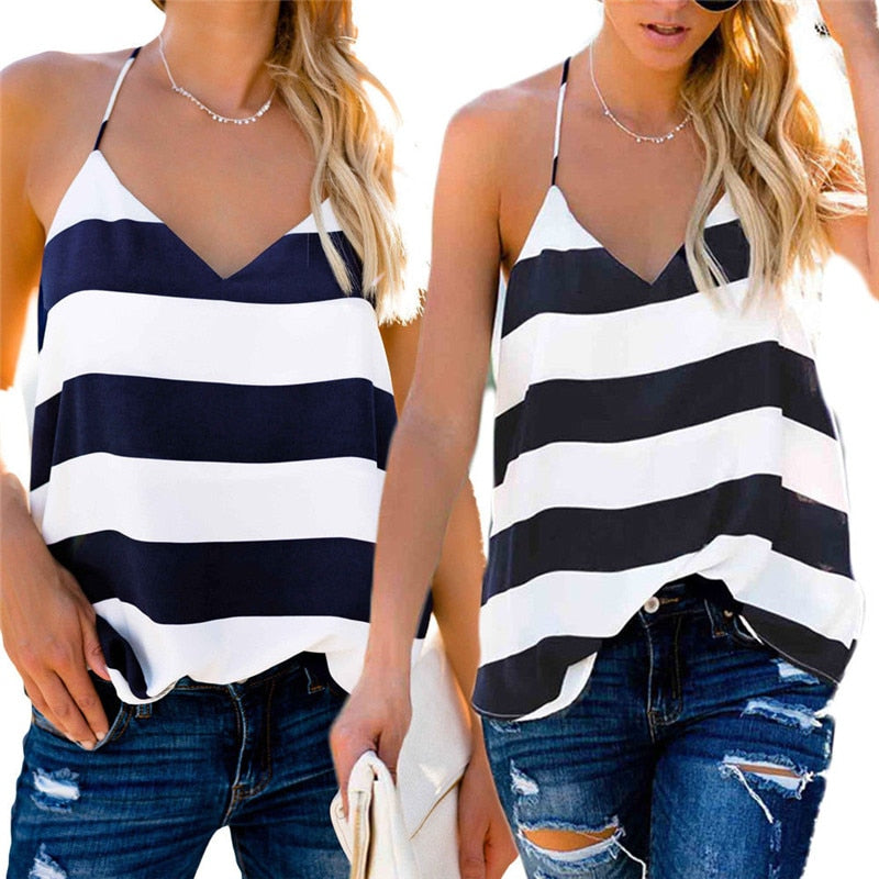 New Striped Women V-Neck Casual Vest Tops Sleeveless Summer Loose Tank Top Clothes T-shirt Singlet Tops