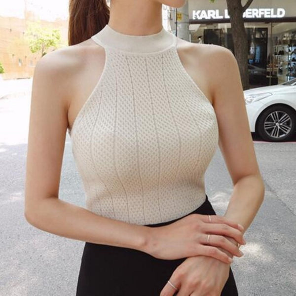 O-neck sleeveless knitted fabric vest women's fitness sexy Crochet top