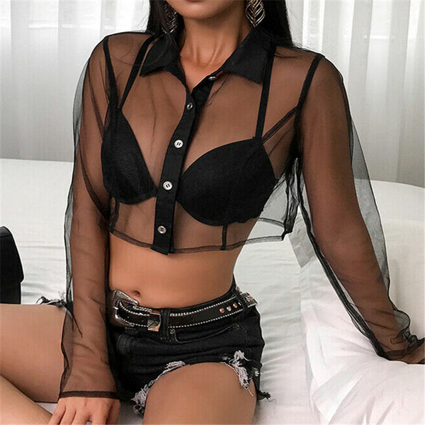 Sexy Women Blouses See Through Transparent Mesh Sheer Turn Down Neck Long Sleeve Ladies Black Single-breasted Crop Shirt