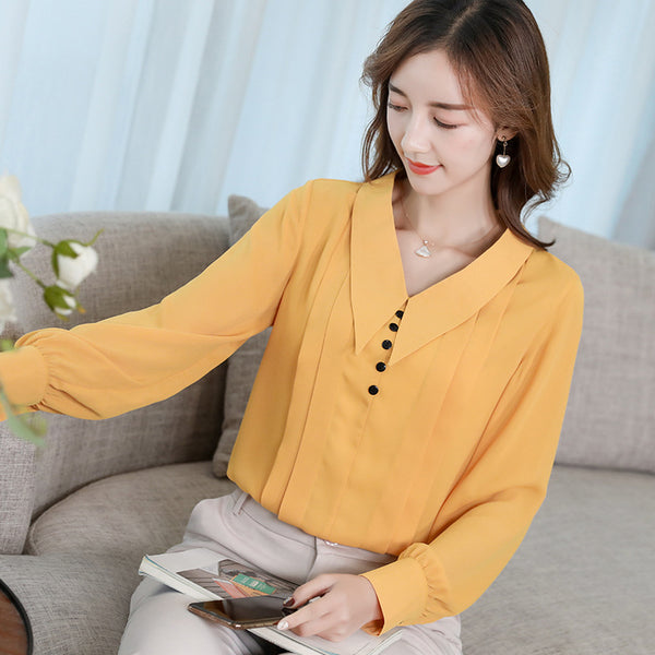 Spring and Summer Shirt New Fashion Top Women's shirt casual Chiffon Lapel slim long sleeve shirt