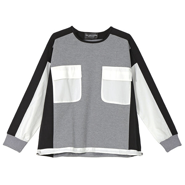 Women Cotton Loose Gray Jumper Pullovers Sweatshirt With Pockets Patchwork Design Oversized Unique Casual Sweatshirts