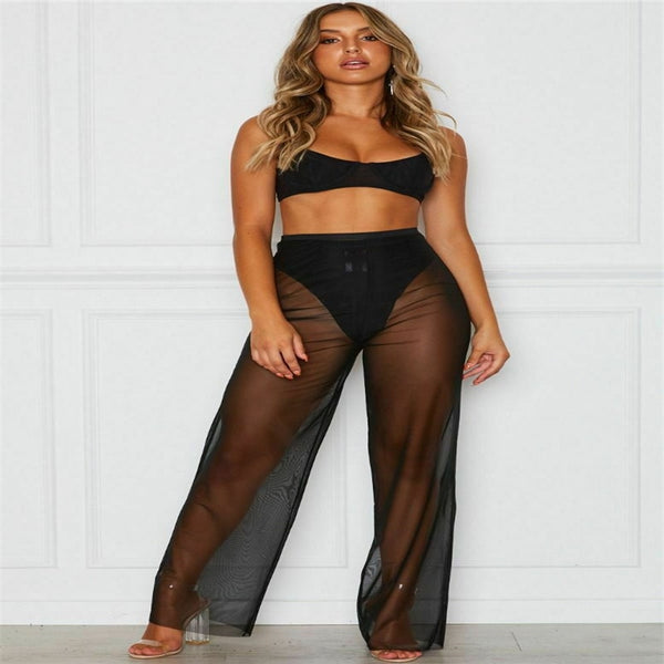 Women Summer Beach Mesh Sheer High Waist Pants Bikini Cover Up Flared Trousers