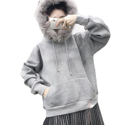 Women Winter Solid color Thicken Fleece Hoodies Sweatshirt Long Sleeve faux fur Hooded Pullover Top Hoodie
