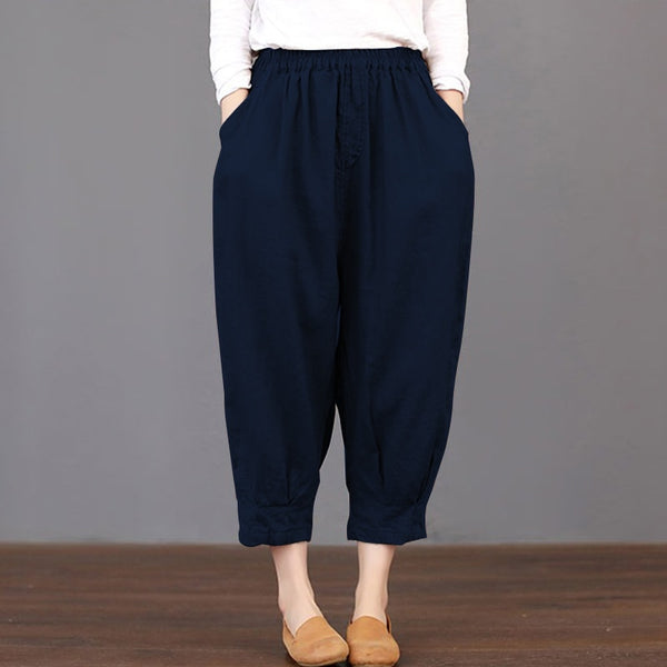 Summer Trousers Women Pockets Solid Loose Elastic Waist Harem Pants Cargo Baggy Cotton Linen Pantalon Plus Size
