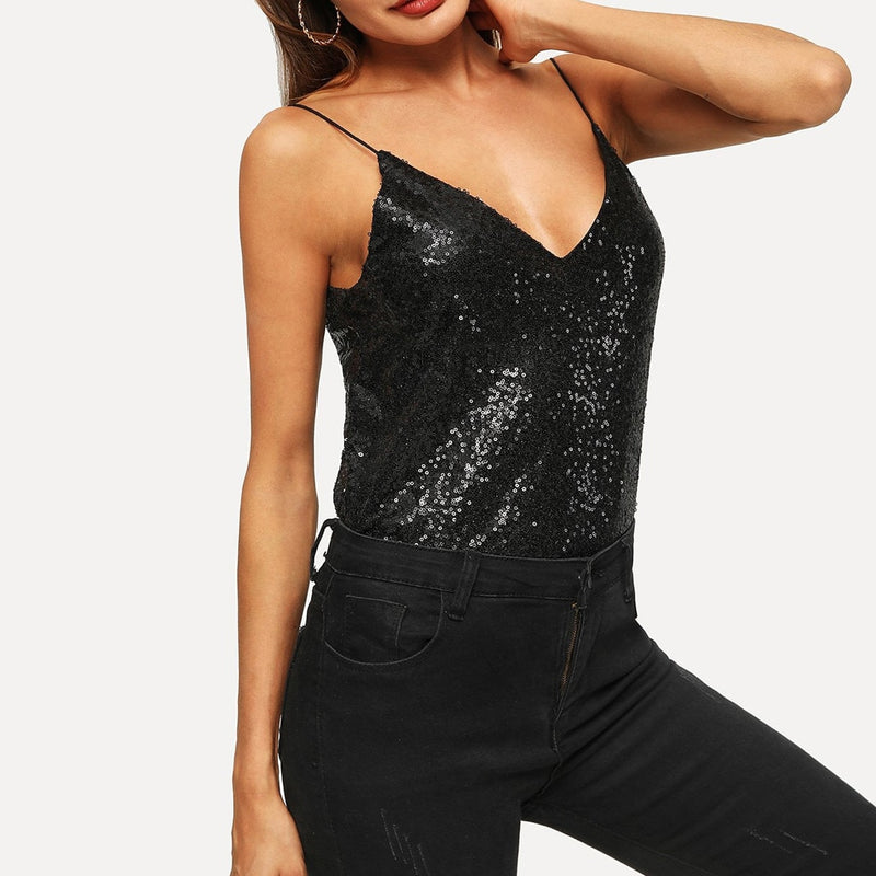Fashion Women Tank Top Sexy Solid V-Neck Sleeveless Cold Shoulder Sequins Crop Camis Top strapless Vest Streetwear Female