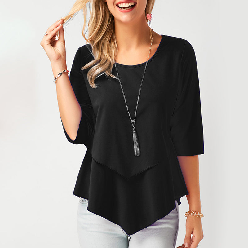 Spring o-neck Half Sleeve Chiffon Blouse solid color loose casual shirt elegant summer